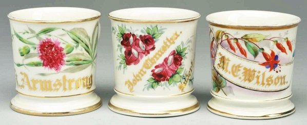3: Lot of 3: Floral Shaving Mugs.