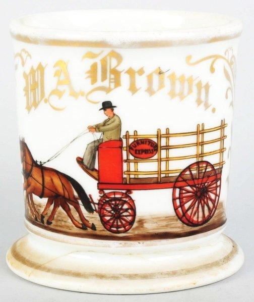 8: Horse-Drawn Furniture Wagon Shaving Mug.