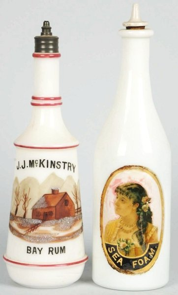14: Lot of 2: Milk Glass Bottles with Stoppers.