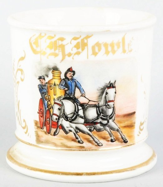 15: Horse-Drawn Fire Pumper Shaving Mug.