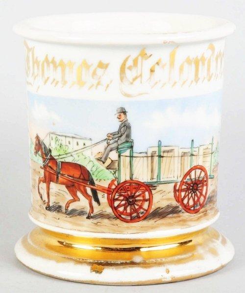 19: Horse-Drawn Delivery Wagon Shaving Mug.