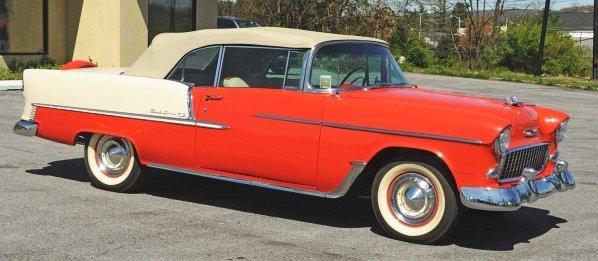 602: 1955 Chevrolet Bel Air 2-Door Convertible Car.
