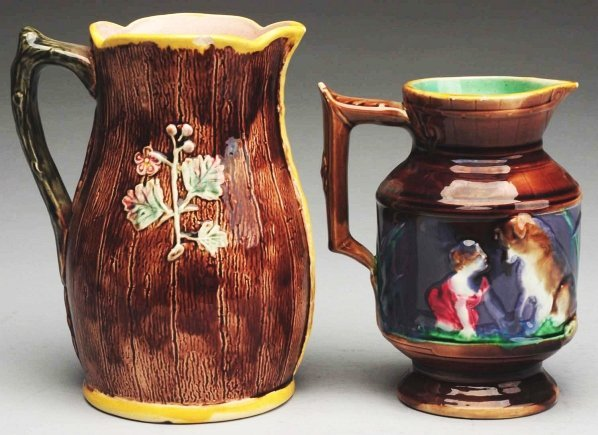 614: Pair of 19th Century Majolica Water Pitchers.