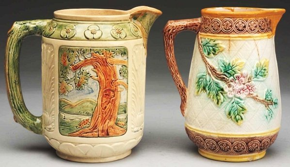 615: Pair of Majolica Bird Pitchers.