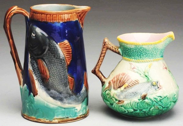 616: Pair of 19th Century Majolica Pitchers.