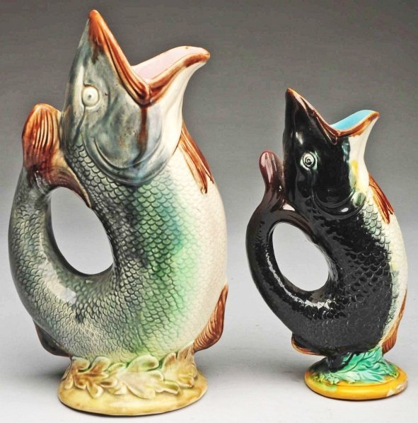 619: Pair of Majolica Fish-Shaped Water Pitchers.