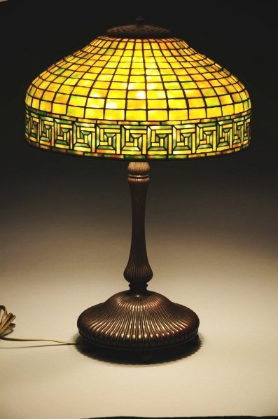 1004: Tiffany Greek Key Leaded Glass Lamp.
