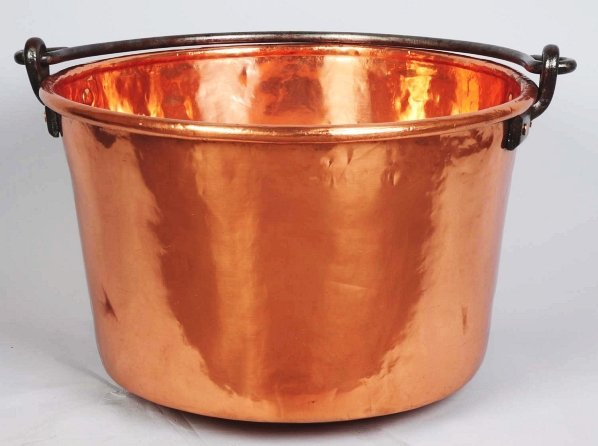 1034: Large Apple Butter Copper Bucket with Handle.