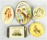 406 Lot of 5 Assorted Celluloid Advertising Pieces