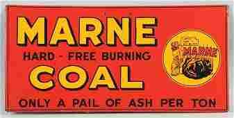 495 1940s50s Marne Coal Black Kid Embossed Tin Sign