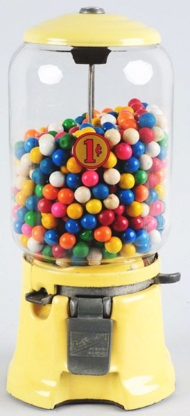 601: Yellow Northwestern 1-Cent Gum Ball Machine.