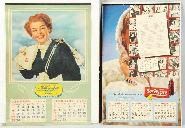 674: 1948 Dr. Pepper & 1950 NuGrape Soda Calendars.