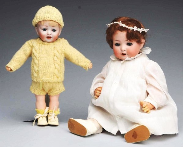 17: Lot of 2: Bisque Character Dolls.