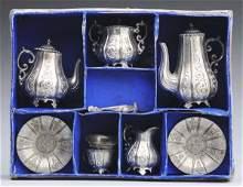 132 Boxed White Metal Tea Set