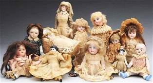 316: Lot of 12: Small Bisque Dolls.