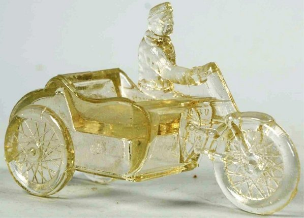 900: Glass Motorcycle with Sidecar Candy Container.