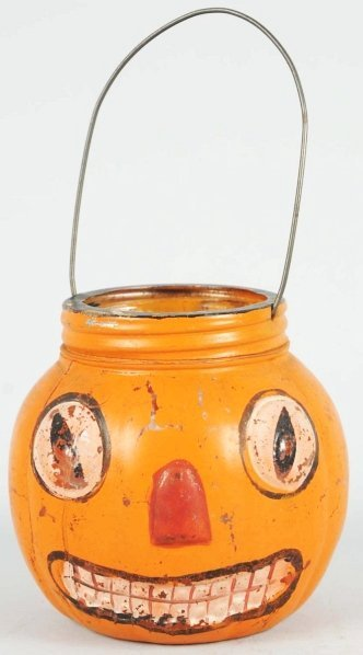 913: Halloween Glass Candy Container with Metal Holder