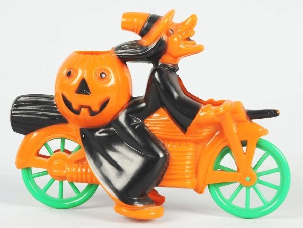 915: Halloween Plastic Witch on Motorcycle.