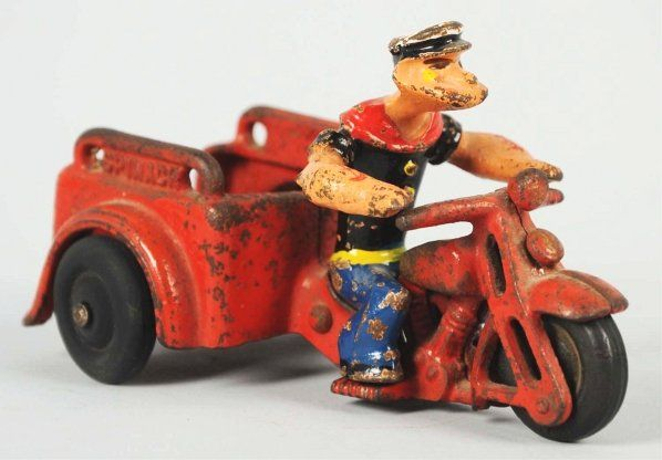 Cast Iron Hubley Popeye Spinach Motorcycle Toy.