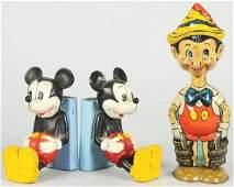 1743 Lot of 3 Walt Disney Mickey  Pinocchio Items
