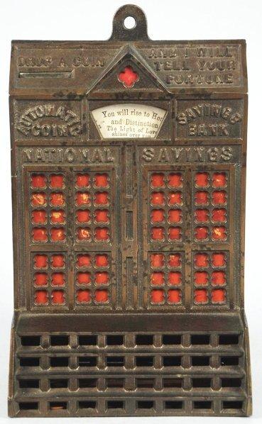 1917: Cast Iron Automatic Coin Savings Mechanical Bank.