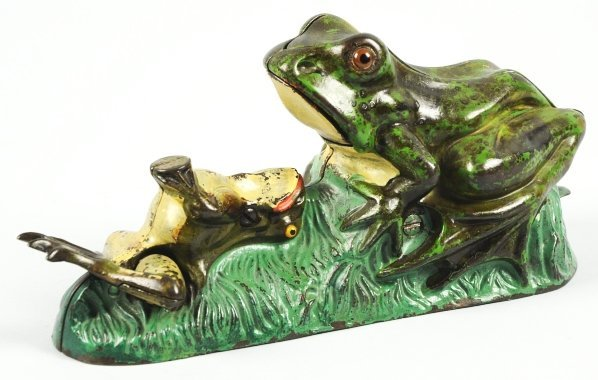 1920: Cast Iron Two Frogs Mechanical Bank.