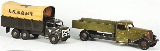 2241 Lot of 2 Pressed Steel Army Truck Toys