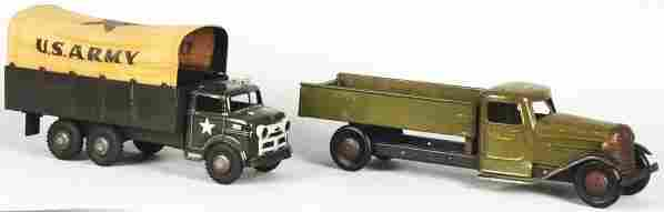 2241: Lot of 2: Pressed Steel Army Truck Toys.