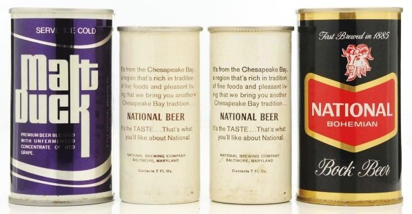 36: Grape Malt Duck/National Bock Beer Cans. - 2