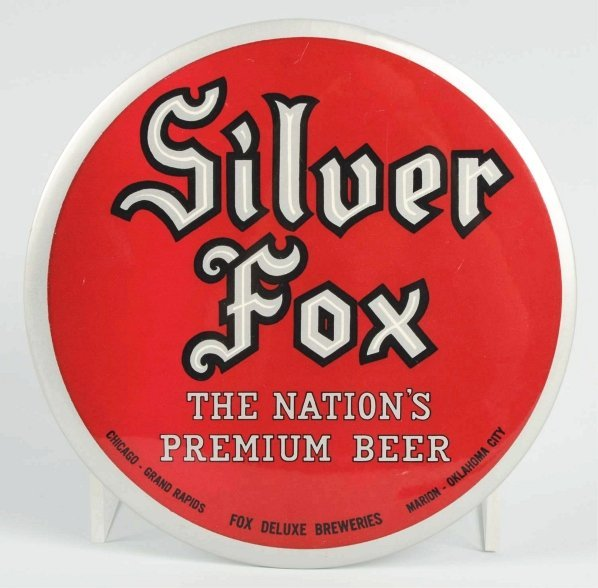 316: Silver Fox Beer Celluloid Button Sign.