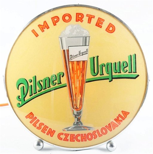 347: Pilsner Urquell Beer Reverse Glass Gillco Sign