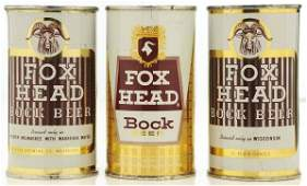 565: Fox Head Bock Flat Top Beer Cans.
