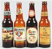 631 Lot of 4 Labeled Beer Bottles
