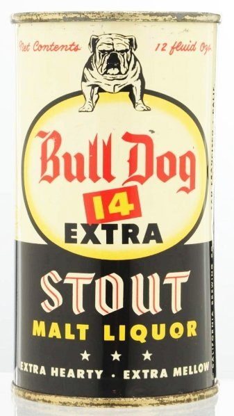 802: Bull Dog 14 Extra Stout Malt Liquor Beer Can.