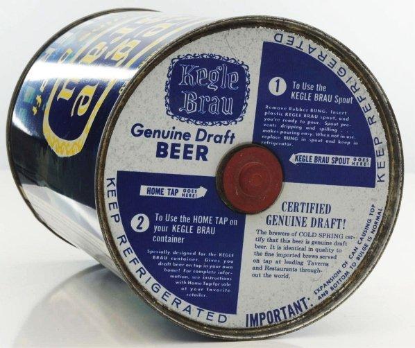 814: Kegle Brau Draft Gallon Beer Can. - 5