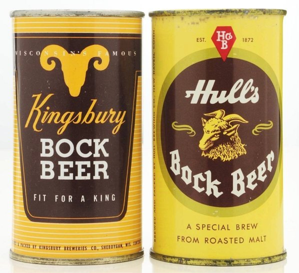 823: Kingsbury Bock & Hull's Bock Flat Top Beer Cans.*