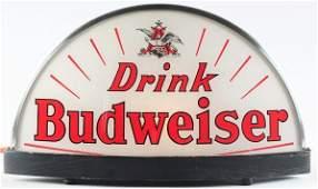 1138: Budweiser Beer Reverse Glass Light-Up Cab Sign.