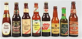 1258 Lot of 8 Assorted Labeled Beer Bottles