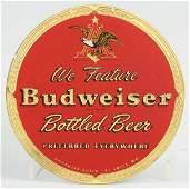 1497: Budweiser Beer Reverse Glass Round Sign.