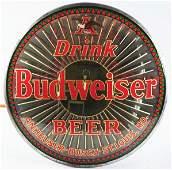 1809: Budweiser Beer Reverse Glass Sign.