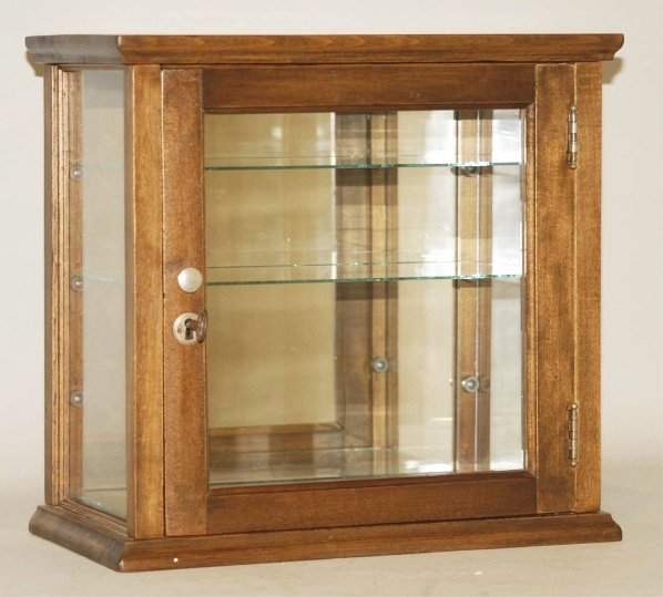 7: Small Glass & Wood Two-Shelf Display Case.