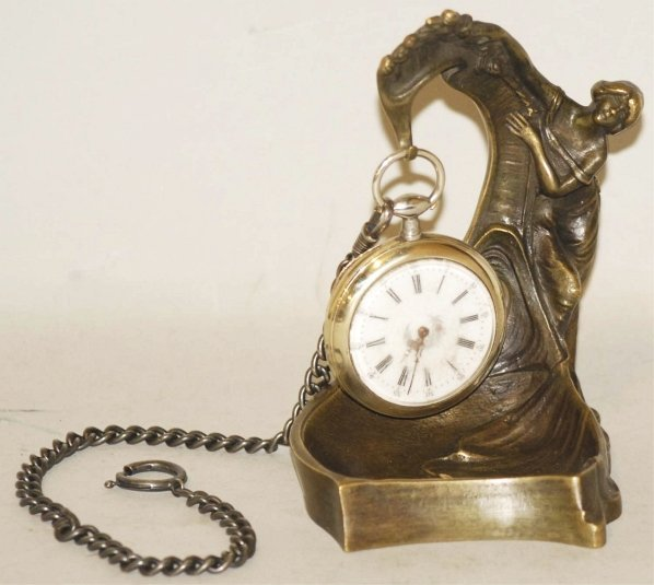 12: Bronze Figural Lady Pocket Watch Holder and Watch