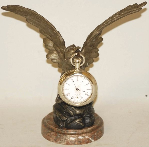 13: Brown Eagle Pocket Watch Holder with Watch.