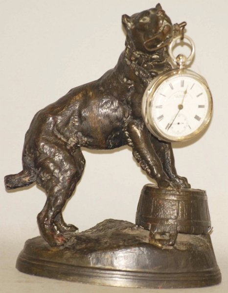 15: Figural Dog Pocket Watch Holder with Watch.