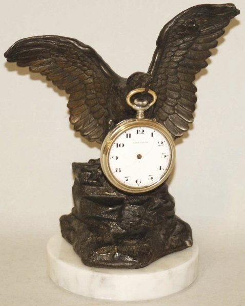 17: Bronze Eagle Pocket Watch Holder and Watch.