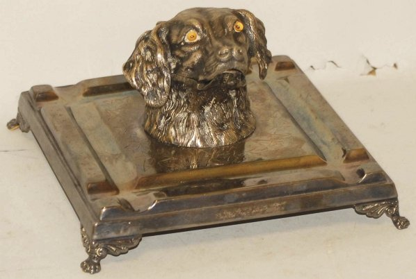 19: Silver Plated Figural Dog Head Inkwell.