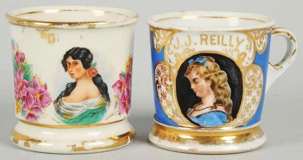 5: Lot of 2: Victorian Image Shaving Mugs.