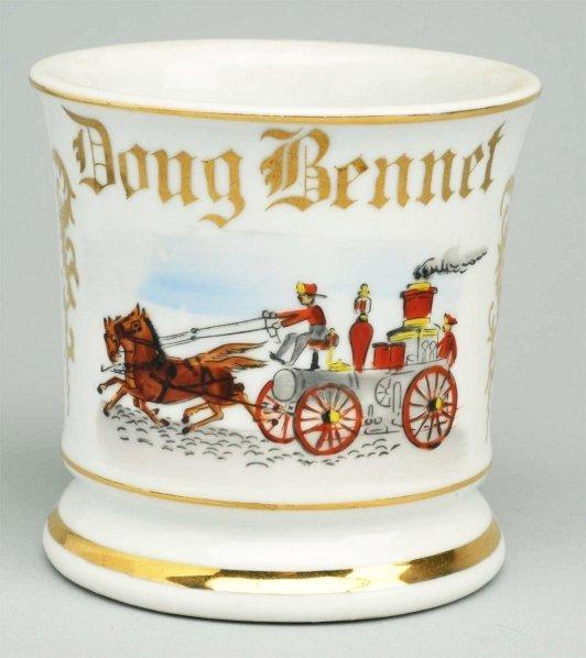 10: Horse-Drawn Fire Pumper Shaving Mug.
