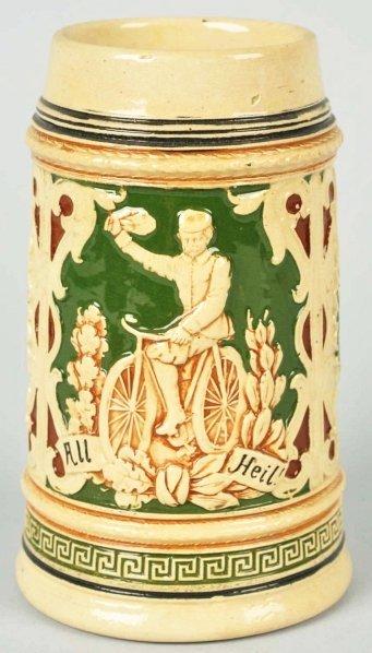 20: German Pottery Bicycle 0.5 Liter Stein.