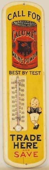 90: Wooden Calumet Baking Powder Thermometer.